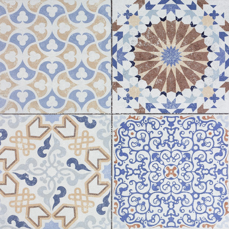 tile wall: Beautiful old ceramic tile wall patterns in the park public.