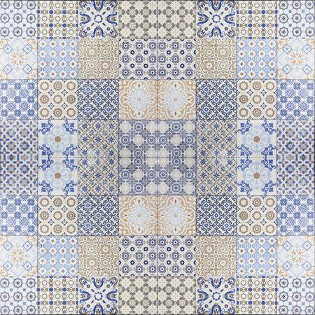 viejos patrones de pared de azulejos de cerámica bellos del parque público. Foto de archivo