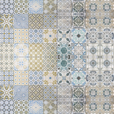 ceramic tile: Beautiful old ceramic tile wall patterns in the park public.