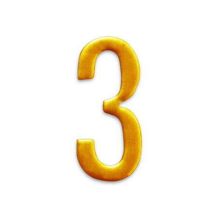 arabic number: The number three golden arabic  isolated on white background.
