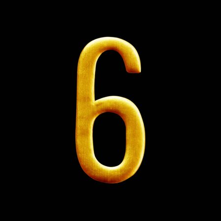 arabic number: The number six  golden arabic  isolated on black  background.