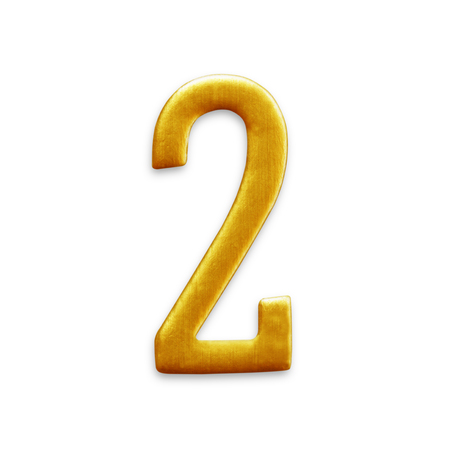 arabic number: The number two Golden Arabic  isolated on white background.