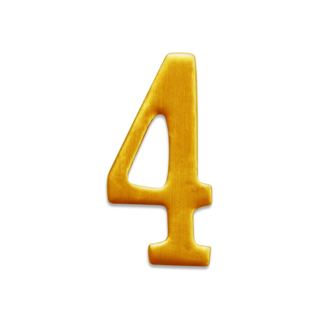 arabic number: The number four golden arabic  isolated on white background. Stock Photo