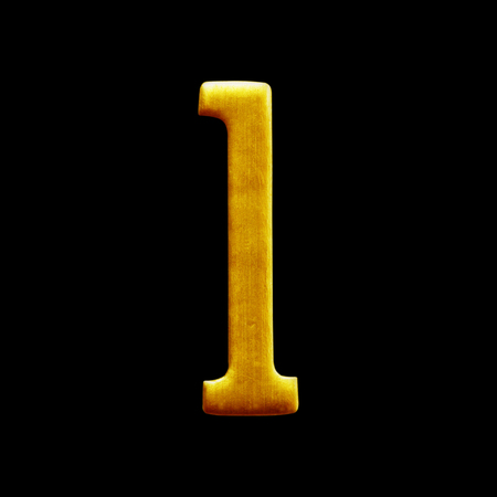 arabic number: The number one golden arabic  isolated on white background.
