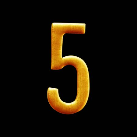 arabic number: The number five  golden arabic  isolated on black  background.