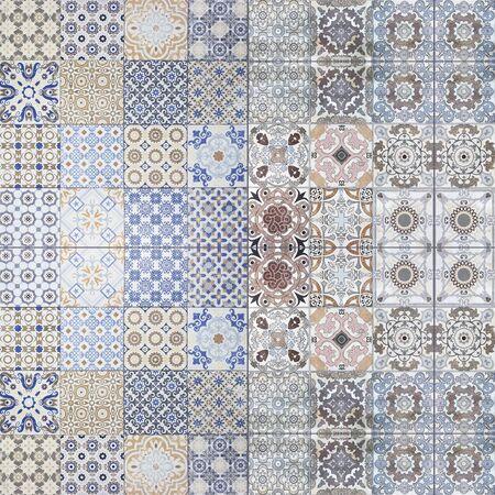 viejos patrones de pared de azulejos de cerámica bellos del parque público.