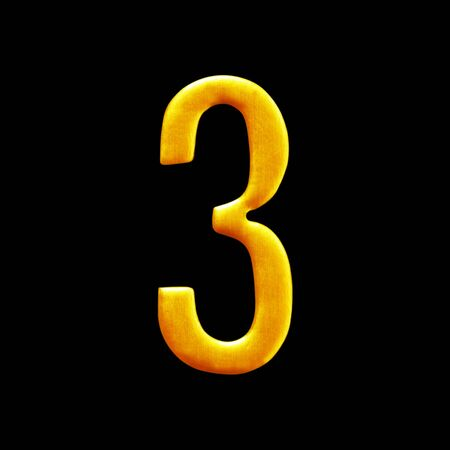 arabic number: The number three golden arabic  isolated on black background.