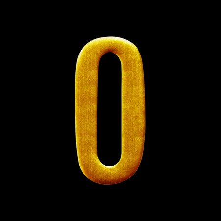 arabic number: The number zero Golden Arabic  isolated on black  background. Stock Photo