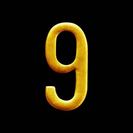 arabic number: Number nine golden arabic  isolated on black background. Stock Photo