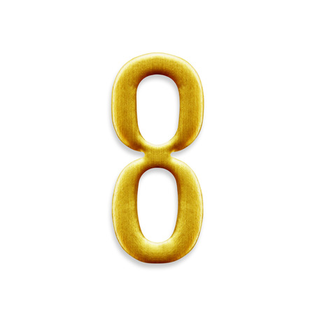 arabic number: Number eight golden arabic isolated on white background. Stock Photo