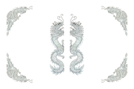 Silver Dragon Frame On White Background Stock Photo, Picture And ...
