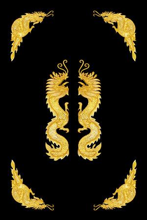 Golden dragon frame on black background