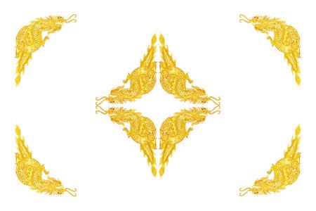 golden dragon frame on white background photo - Dragon Frame