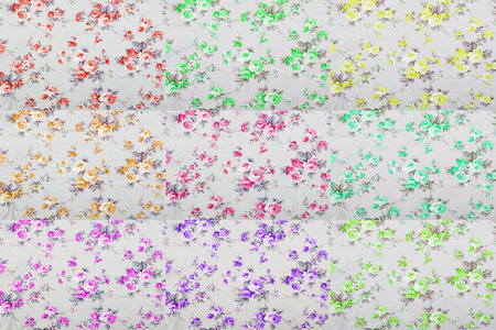 wall: vintage style of tapestry flowers fabric pattern background Stock Photo