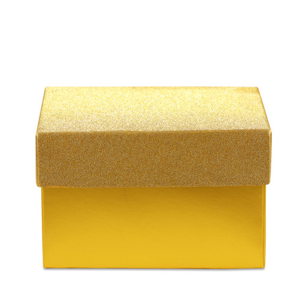 gold gift box: gold gift box. isolated on white