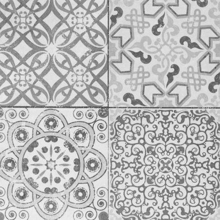 Bellos azulejos antiguos patrones de cerámica en el parque público. Foto de archivo