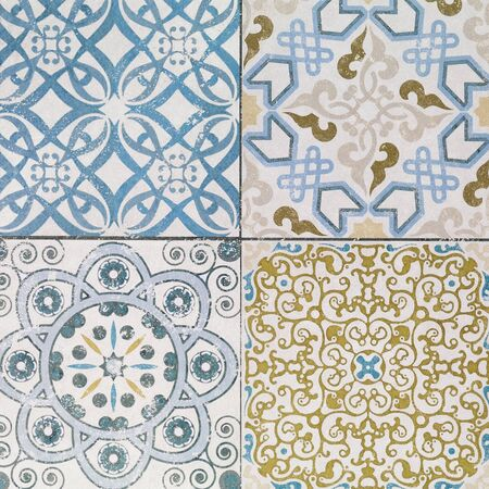 exterior architectural details: Beautiful old ceramic tiles patterns in the park public.