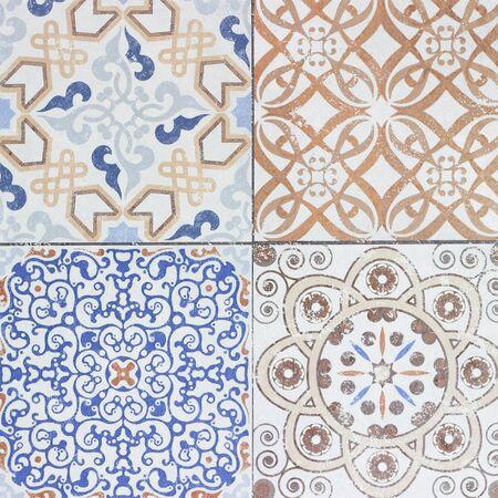 ceramic tiles: Beautiful old ceramic tiles patterns in the park public.