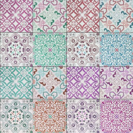 tile pattern: Beautiful old ceramic tiles patterns in the park public.