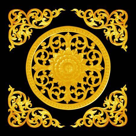 ornate frame: Pattern of flower carved  for decoration isolated on black  background