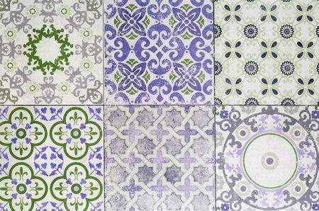 exterior architectural details: Beautiful old ceramic tile patterns in the park public.