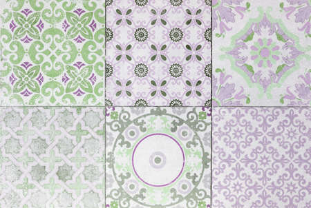 ceramic tile: Old ceramic tile wall patterns in the park public. Stock Photo
