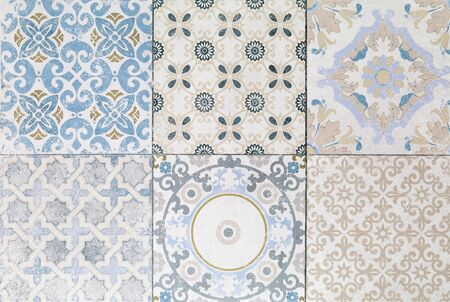 azulejos: Old ceramic tile wall patterns in the park public. Stock Photo