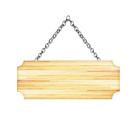 Wooden sign hanging on a chain isolated on white background Stock Photo
