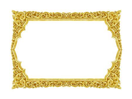 Vecchia cornice oro decorativo - fatti a mano, inciso - isolato su sfondo bianco Archivio Fotografico - 66378342