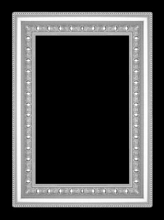 silver frame: silver picture frame isolated on black  background
