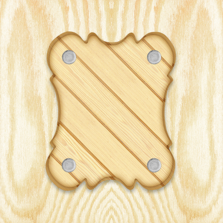 wainscot: wooden sign board frame on wooden planks background