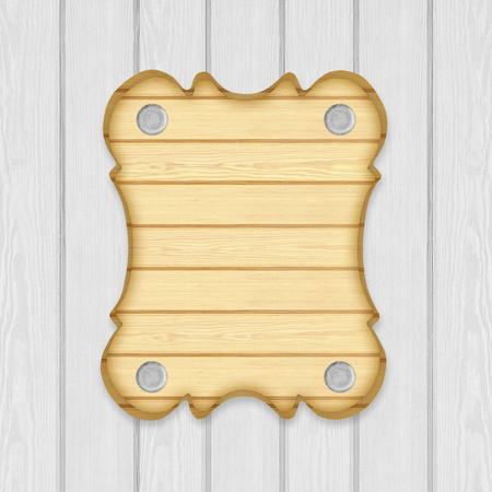 wooden sign board frame on wooden planks background