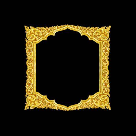 old decorative gold frame - handmade, engraved - isolated on black background Stock Photo