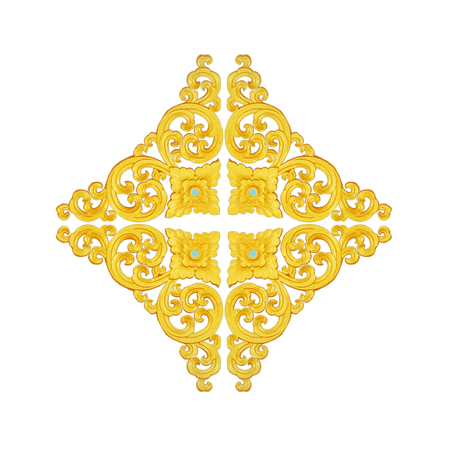 Pattern of gold Stucco frame carve on white background