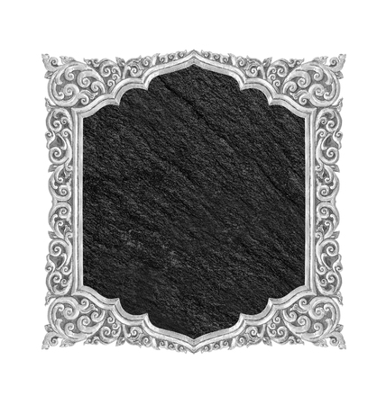 blank black stone plate isolated on white background with copy