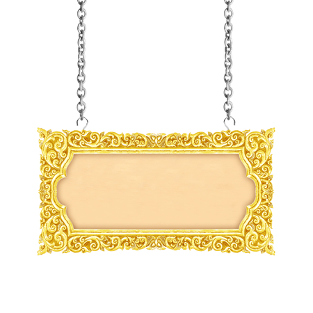 old decorative sign frame with chain - handmade, engraved - isolated on white background