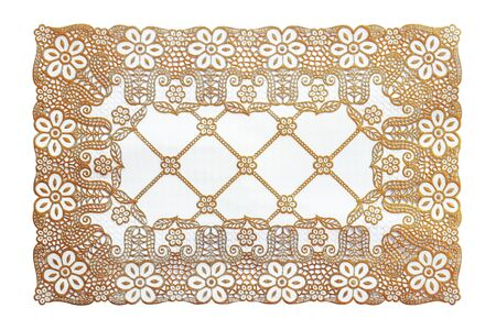 Pattern of Plastic gold floral for tablecloth