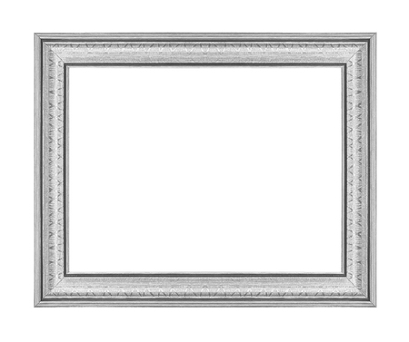 silver frame: The  silver frame isolated on  white background Stock Photo