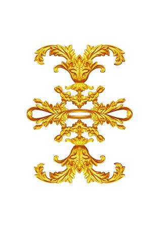 baroque border: Ornament elements, vintage gold floral designs