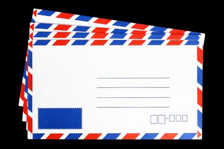 Blank envelope isolated on black background