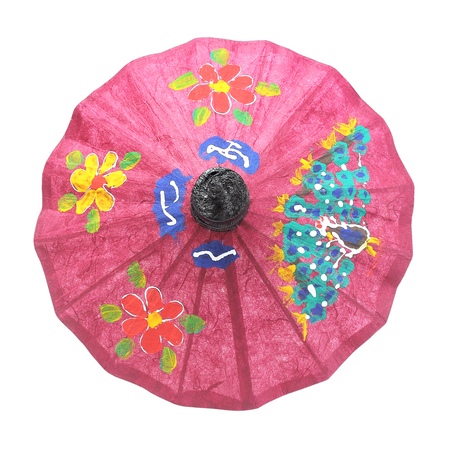 paper umbrella: umbrella paper isolated on white background Stock Photo