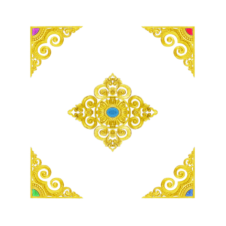 old photo: Pattern of wood frame carved flower on white background Stock Photo