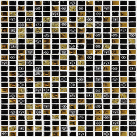 grid pattern: small black and gold mosaic tiles background