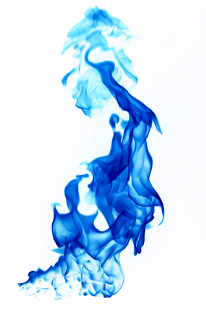 Blue fire, burning, flame black background Stock Photo
