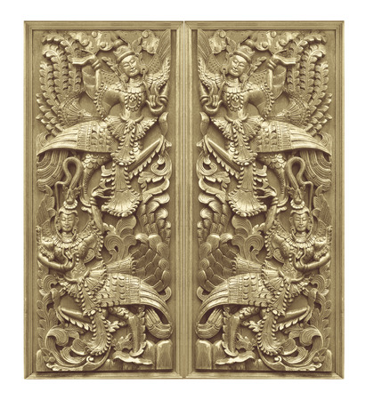 Traditional Old wood carving on the wall of Temple in Thailand,  Thai style Banque d'images