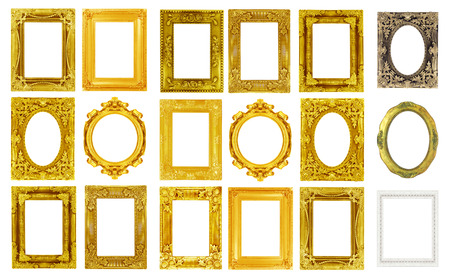 The antique gold frame isolated on the white background. Stockfoto