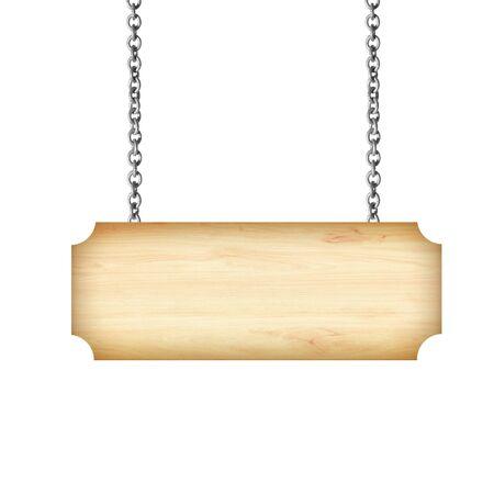 Cartel de madera colgando de una cadena aislada en blanco Foto de archivo