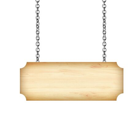 Wooden sign hanging on a chain isolated on white Archivio Fotografico