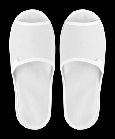 Slippers top view isolated on black background. Stock Photo