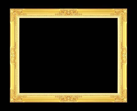 Gold antique picture frame isolated on black background. Reklamní fotografie - 139804332